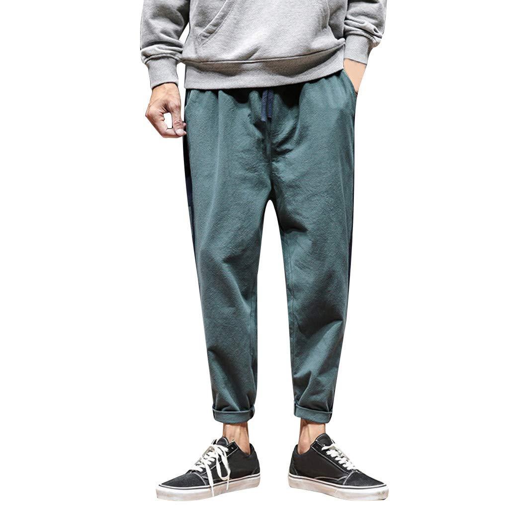 FKSESG Men's Pants Foreign Men Solid Color Cotton and Linen Long Pants Green