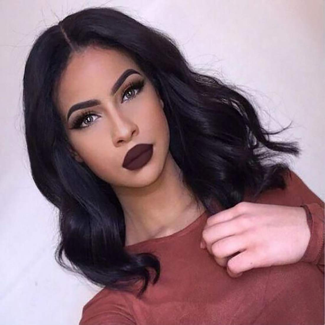 Brazilian Virgin Human Hair Lace Front Wigs Glueless Short Bob Human Hair Wigs Natural Wavy Hair For Black Women 12inch Short Wavy Lace Wigs by Amanda