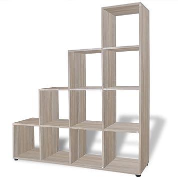 Anself Staircase Bookcase Display Shelf 142 Cm Oak