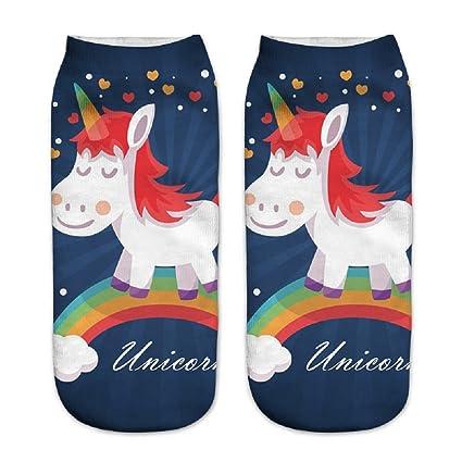 Calcetines tobilleros deportivos, de la marca Jysport, con estampado de unicornio, rainbow unicorn