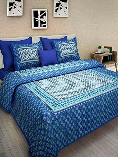 Attractive JAIPUR PRINTS Cotton King Size 1 Double Bedsheet With 2 Pillow Cover