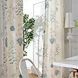 Cream White Linen Teal Blue Curtains - Anady Top 2 Panel Print Flower Door Curtains Decro Drapes for Living Room Grommet 96 inch Length