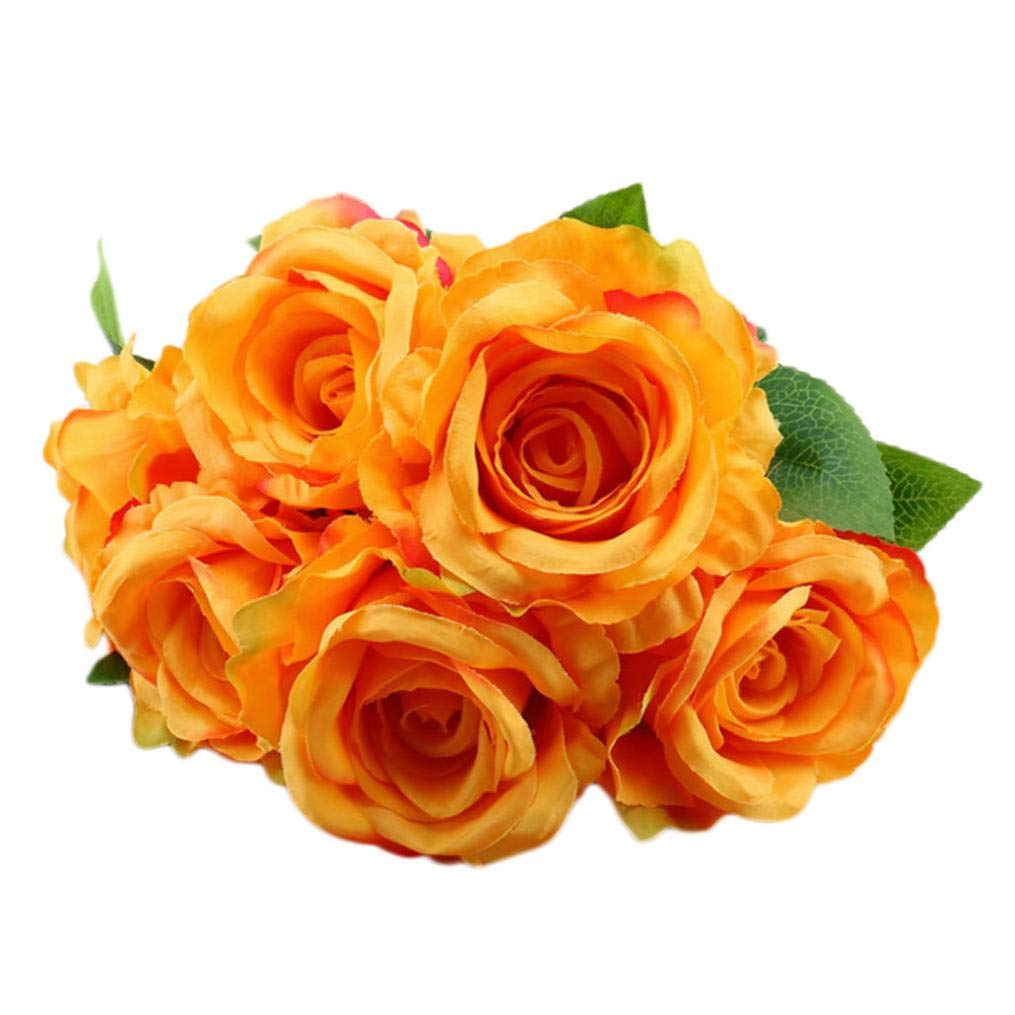 Artificial Flowers, MaxFox Fake Silk Rose Bouquet Vintage Flower Bouquets Home Office Wedding Party Decor (Orange)