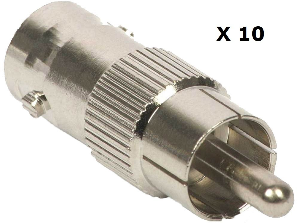 BW/® 10 x BNC Female to RCA Phono Male Plug Adapter CCTV to Composite Video
