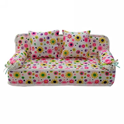 Lovely Miniature Flower Prints Sofa Couch with 2 Cushions for Barbie Doll: Toys & Games