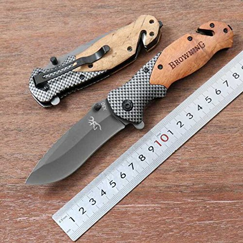 Browning knives X50 Tactical Folding Knives, Wood +Carbon fiber Handle Blade 440C 57HRC Camping Survival knife Pocket folding Knife from X-50