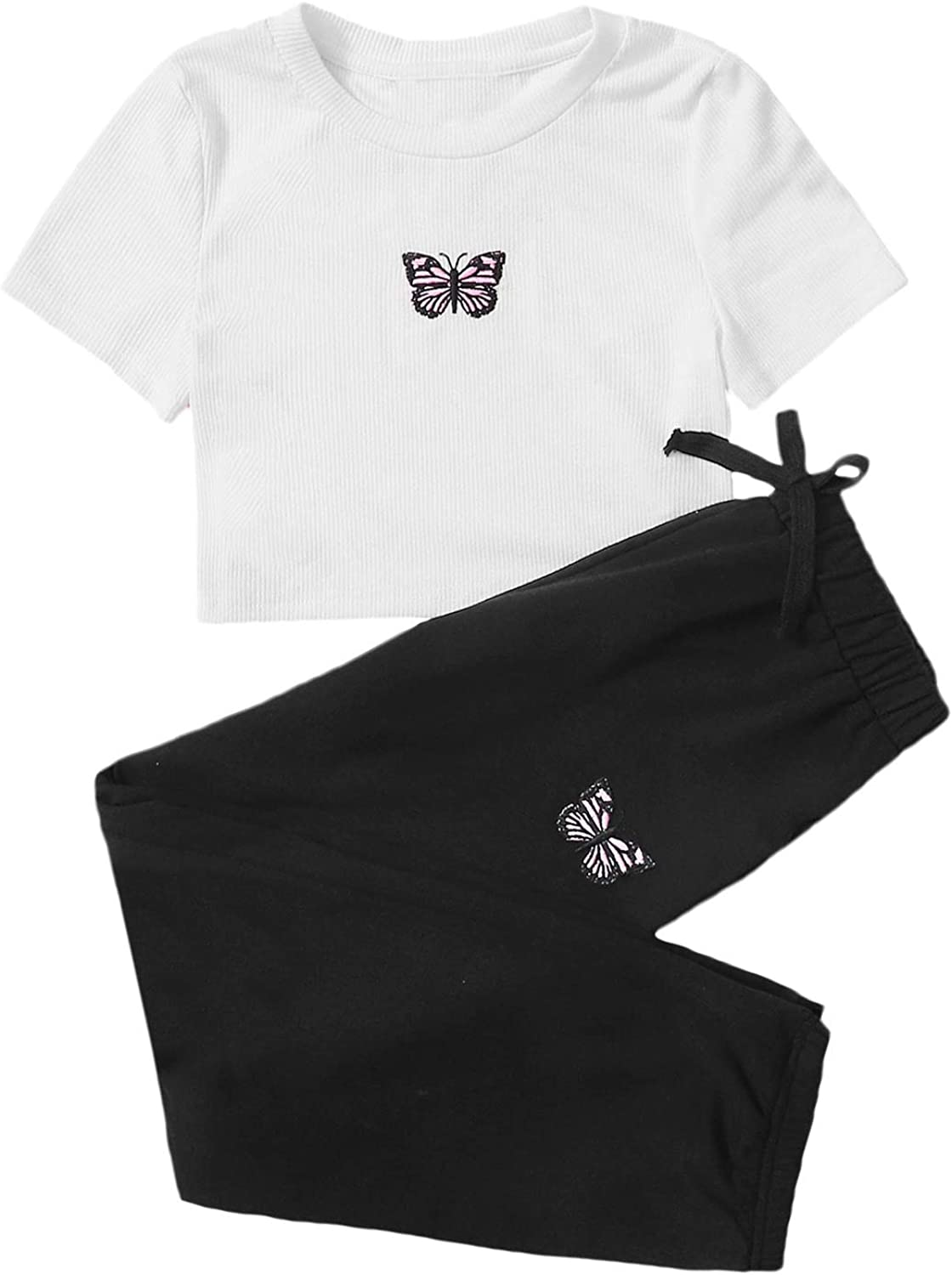 SOLY HUX Girl's 2 Piece Outfits Butterfly Embroidered Crop Top and Pants Set: Clothing