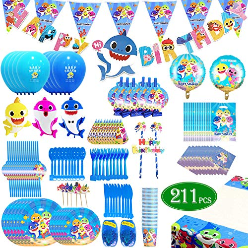 Shark Party Supplies Pool theme Set 211Pcs - Flasoo Sharks Ocean Themed Birthday Parties Decorations Includes Disposable Tableware Kit - Serves 16 Guest (Birthday Party Theme Supplies)