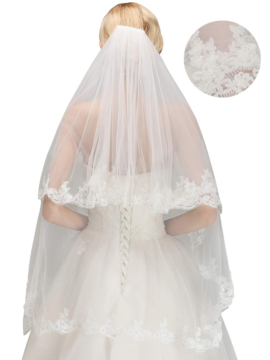 Women's Bridal Tulle Veils with Comb Lace Edge Wedding Veils for Bride,White by MisShow (Image #3)