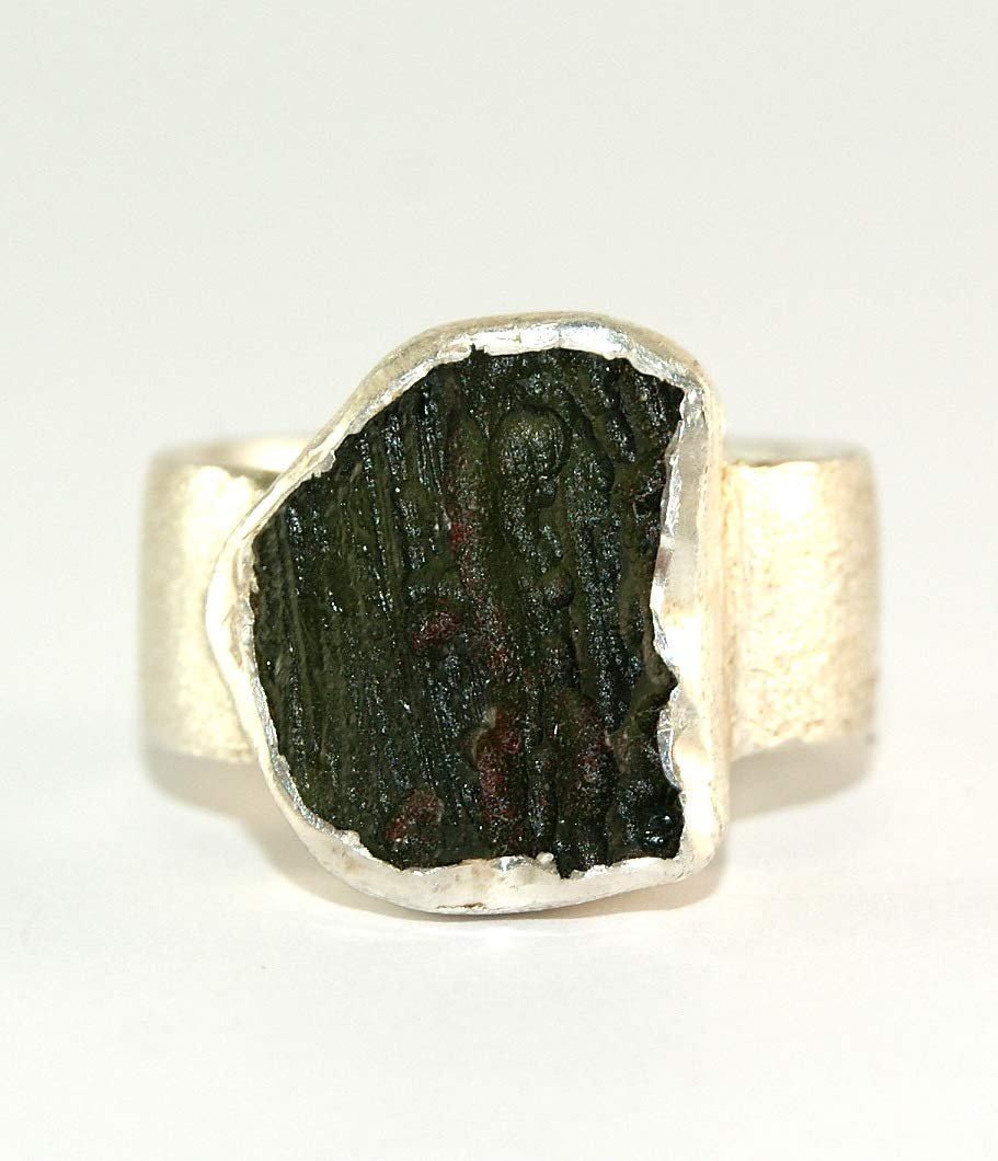 Moldavite Ring - Raw Rough - Brushed Sterling Silver - R1812