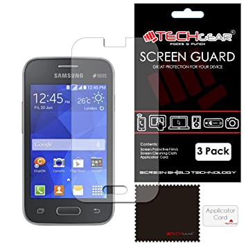 Techgear 3 Pack Screen Protectors For Galaxy Young 2 Sm G130 Ultra Clear Lcd Screen Protector Guard Covers Compatible With Samsung Galaxy Young