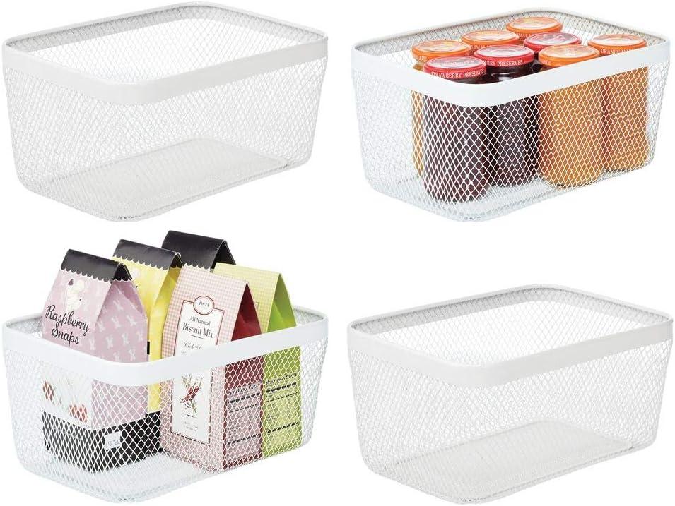mDesign Juego de 4 cajas multiusos de metal de 30,5 cm x 22,9 cm x 15,2 cm – Organizador de cocina, despensa, baño y más – Cesta de almacenaje de alambre, compacta y universal – blanco