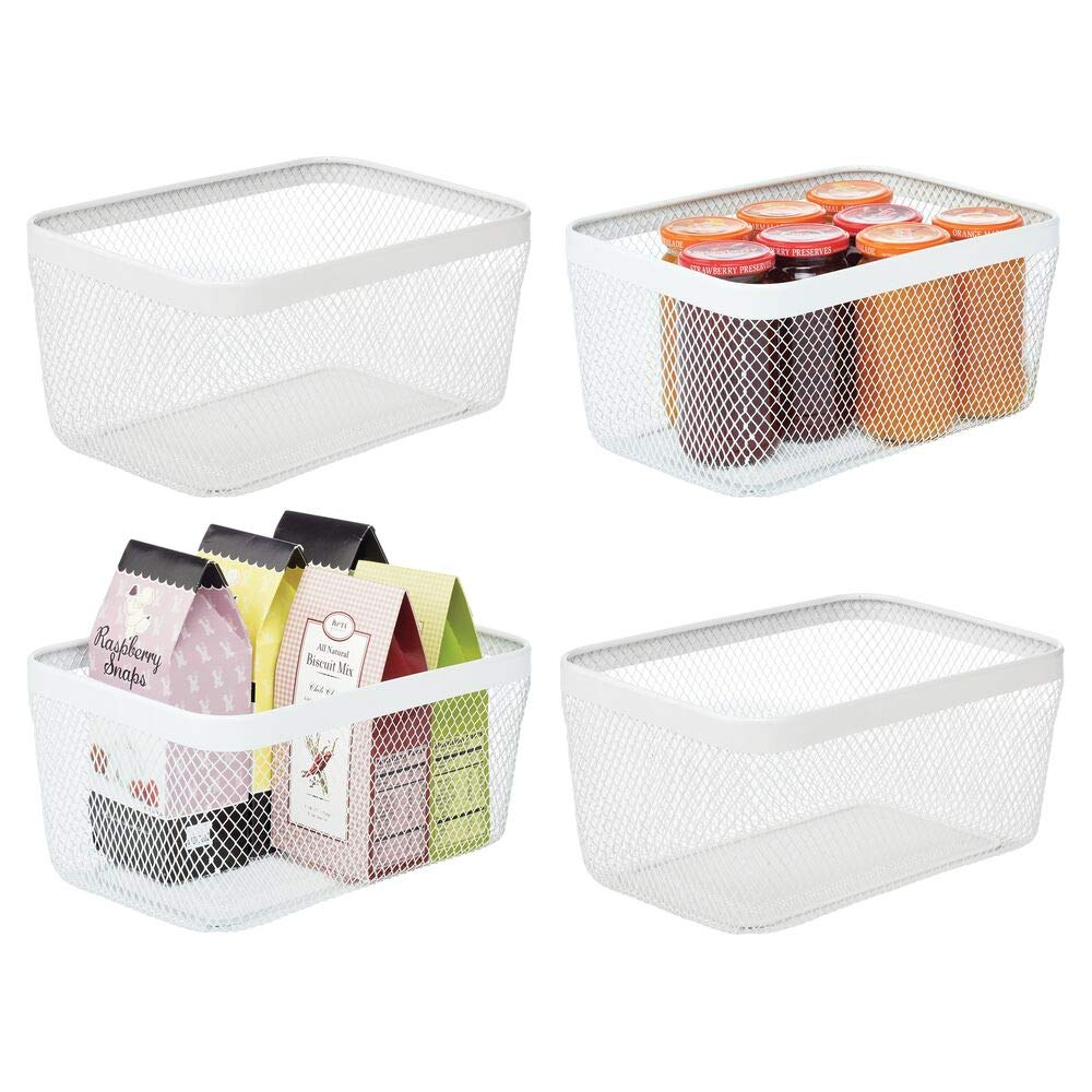 blanco Cesta de almacenaje de alambre mDesign Caja multiusos de metal despensa compacta y universal ba/ño y m/ás Organizador de cocina