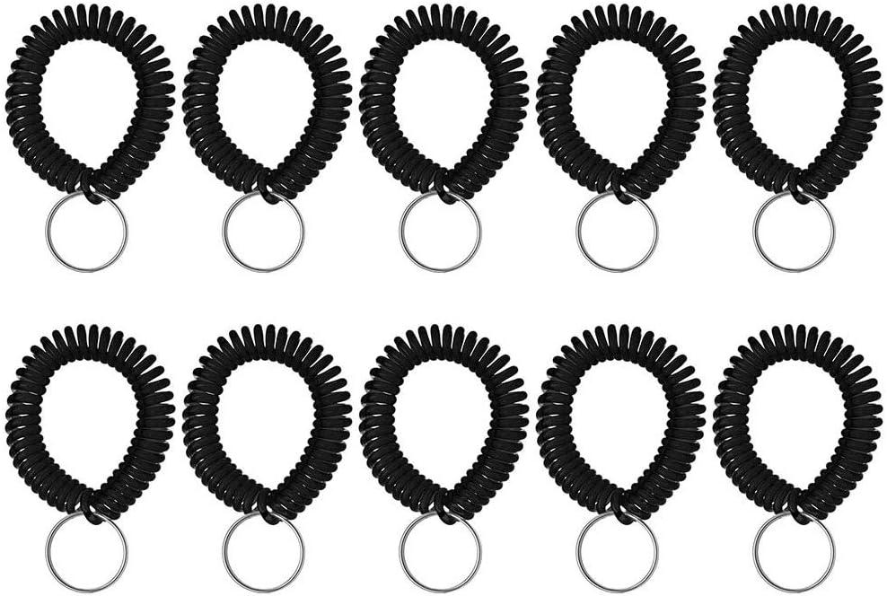 Aspire - Pulsera elástica de plástico para muñeca, diseño de espiral, color negro 50 PCS
