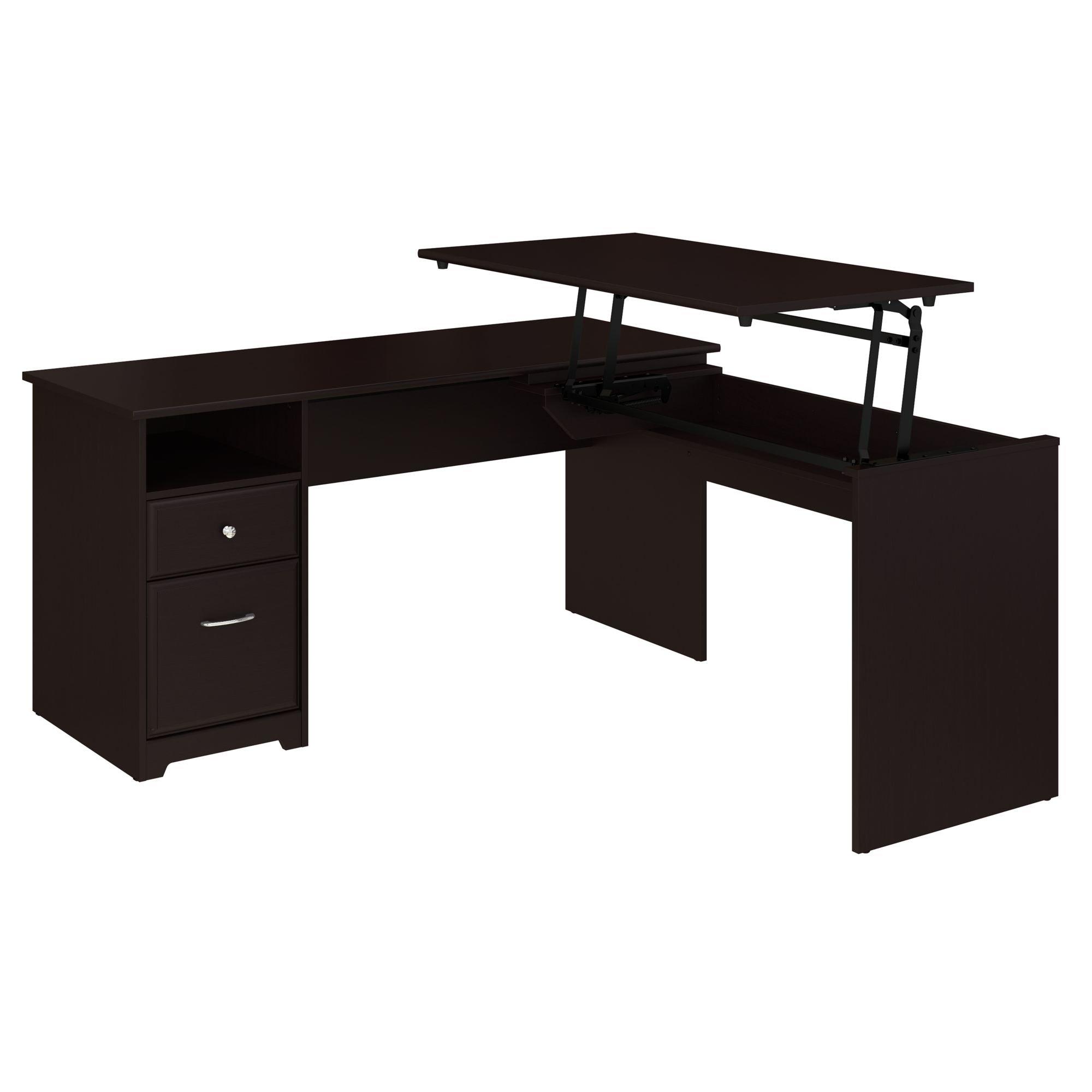 Bush Furniture Cabot 60W 3 Position L Shaped Sit to Stand Desk in Espresso Oak by Bush Furniture