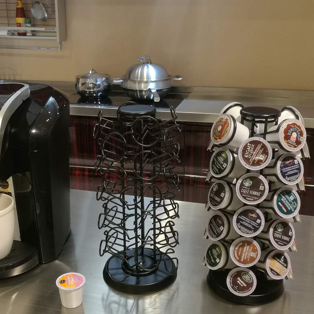 Coffee Pod Holder Carousel Holds 40 Single Cup Coffee Pods in Matte Black by Blacksmith Family (Image #4)