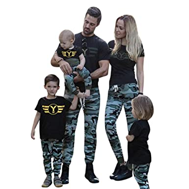 4a69d2dd Amazon.com: Gooldu Family Shirts Matching, 2pcs Toddler Baby Boys Girls  Camouflage Romper+Pants Family Clothes Set Outfits: Clothing