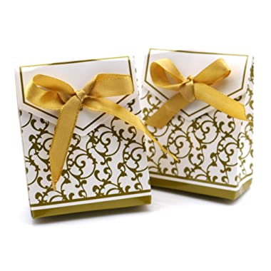 Patty Both 50 Gold Gift Boxes Candy Favor Box Wedding Decoration Party Decoration New Craft Decoration Thanksgiving Gifts (Gold)