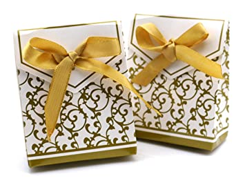 Patty Both 50 Gold Gift Boxes Candy Favor Box Wedding Decoration Party Decoration New Craft