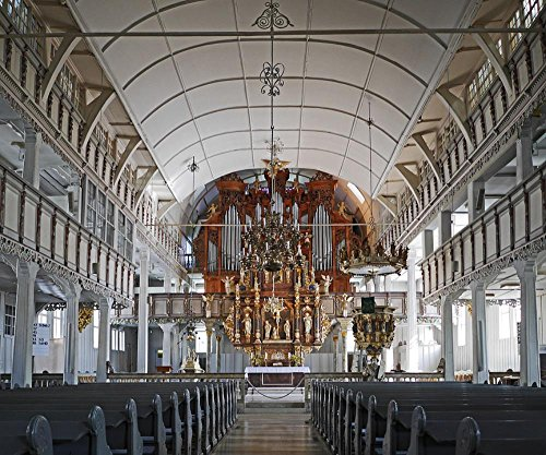 LAMINATED 28x24 inches Poster: Largest Wooden Church In Germany Clausthal-Zellerfeld Market Church Evangelical Lutheran Nave Interior Sanctuary Organ Gallery Balcony Balustrade Candlestick ()