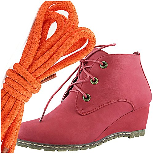 DailyShoes Womens Fashion Lace Up Round Toe Ankle High Oxford Wedge Bootie, Orange Red Pu