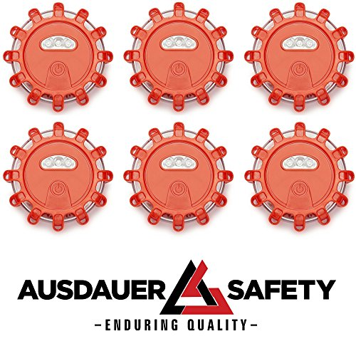 (6 Pack) Red LED Road Flares Emergency Disc Roadside Safety Light Flashing Road Beacon for Auto Car Truck Boat. Ready for 1 OR 2 Vehicles By AUSDAUER SAFETY by AUSDAUER SAFETY