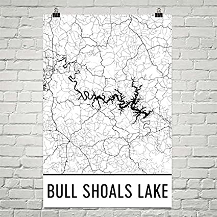 Amazon.com: Modern Map Art Bull Shoals Lake, Bull Shoals Lake MO and ...