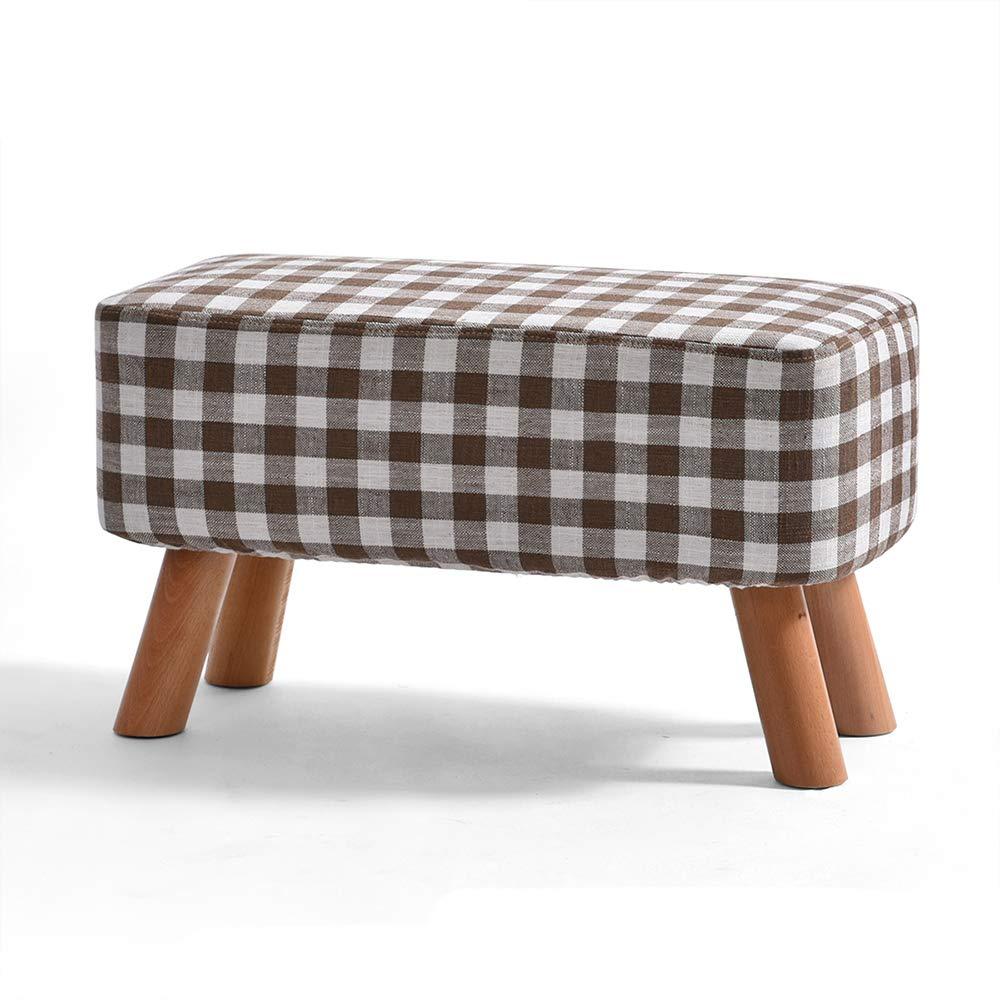 4 572935cm ZZHF dengzi Footstool, Rectangular Padded Stool Sofa Solid Wood Fabric Bedroom Living Room Door Change shoes Bench 4 Legs (color   4, Size   57  29  35cm)