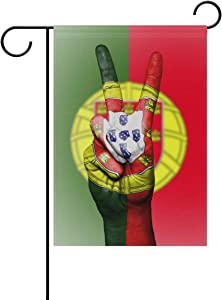 DKISEE Garden Flag Portugal Flag Peace Hand Home Garden Yard Flag - Double Sided Decorative Outdoor Flag 28x40 inches