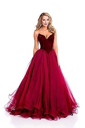 VEPYCLY Burgundy V Neck Formal Corset Prom Evening Dresses Celebrity Dress Lace Up Burgundy 2