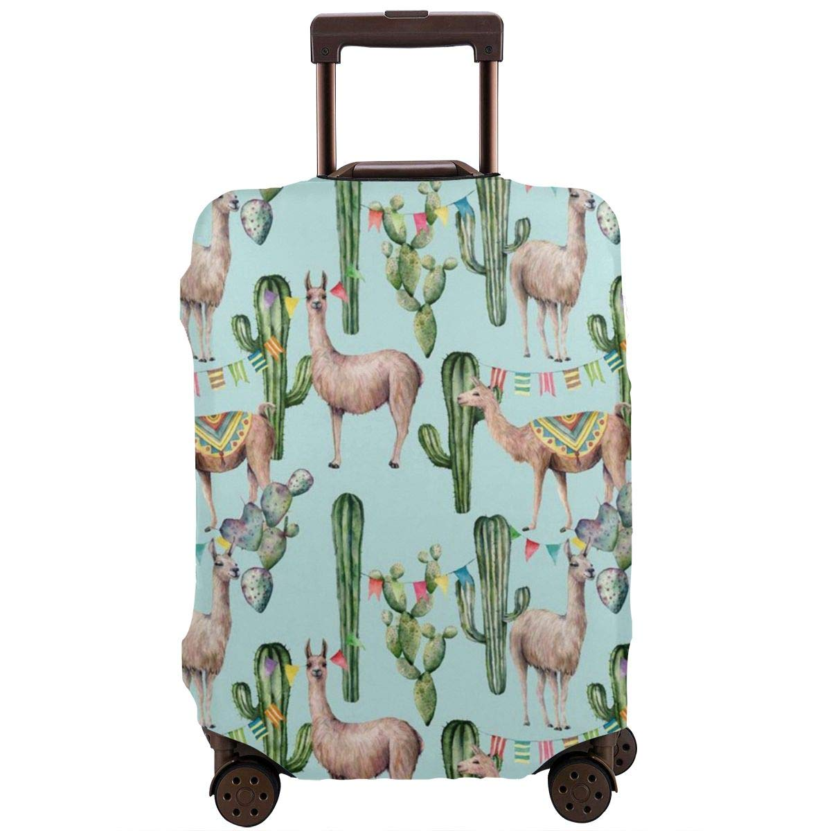 Luggage Cover Llama Cactus Flowers Cacti Floral And Flag Protective Travel Trunk Case Elastic Luggage Suitcase Protector Cover