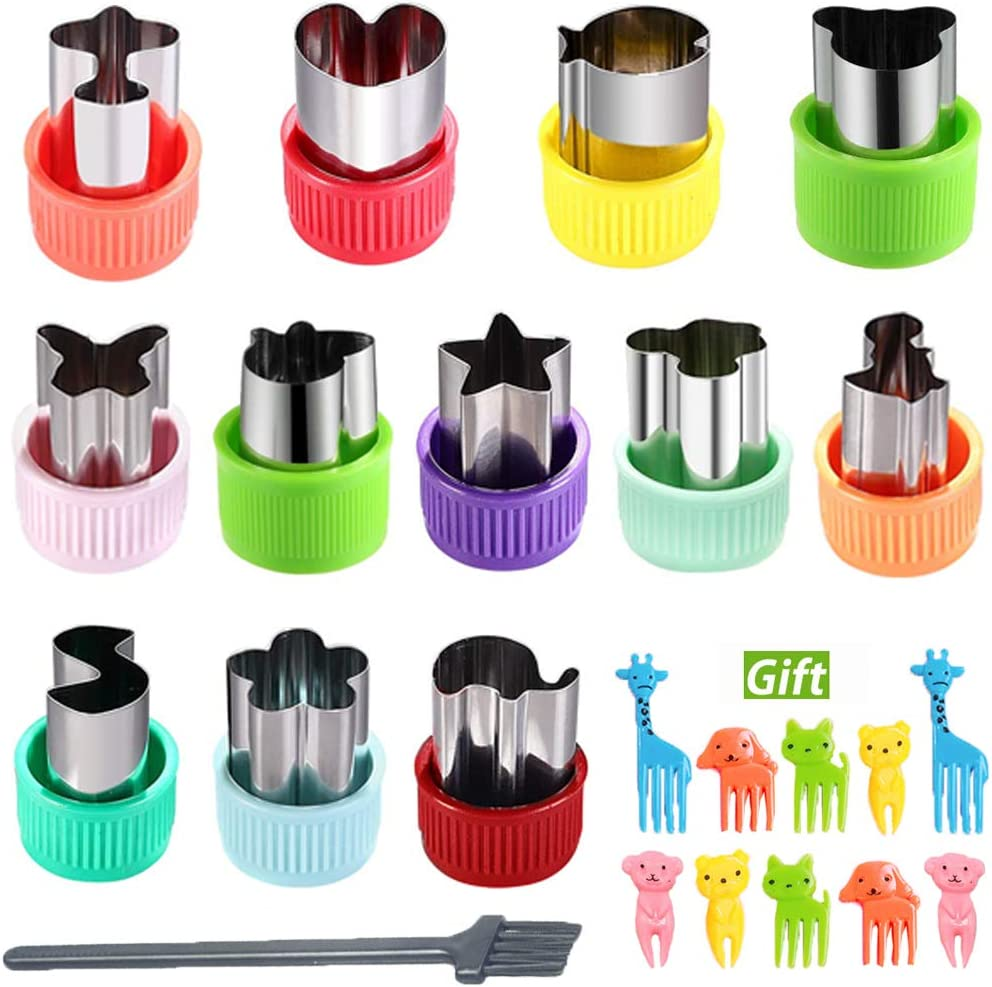KAISHANE Vegetable Cutters Fruit Cutter Shapes Set 12pcs Stainless Steel Mini Cookie Cutters Pastry Stamps Mold 10pcs Cute Cartoon Animals Food Picks and Forks