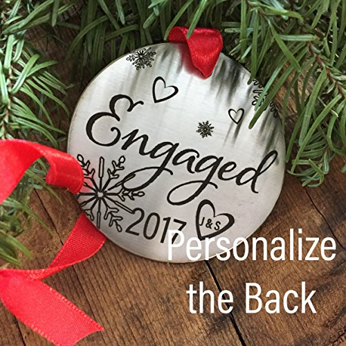 Personalized Engagement Christmas Ornaments (Personalized Engaged 2017 Christmas Ornament Holiday Engaged Ornament 2017 Christmas Ornament For Engagement Ornament Newly Married Newly Engaged Disc)