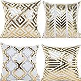 Decorative Pillow Cover - HOSL 4 Pack ZTTJ03 Gold Stamping Geometrical Pattern Decorative Pillow Cover Case 18