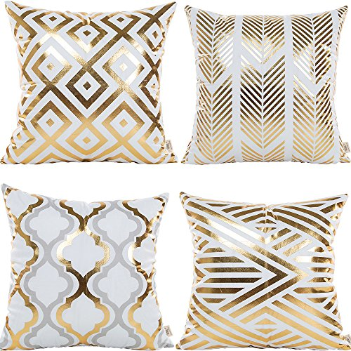 HOSL 4 Pack ZTTJ03 Gold Stamping Geometrical Pattern Decorative Pillow Cover Case 18