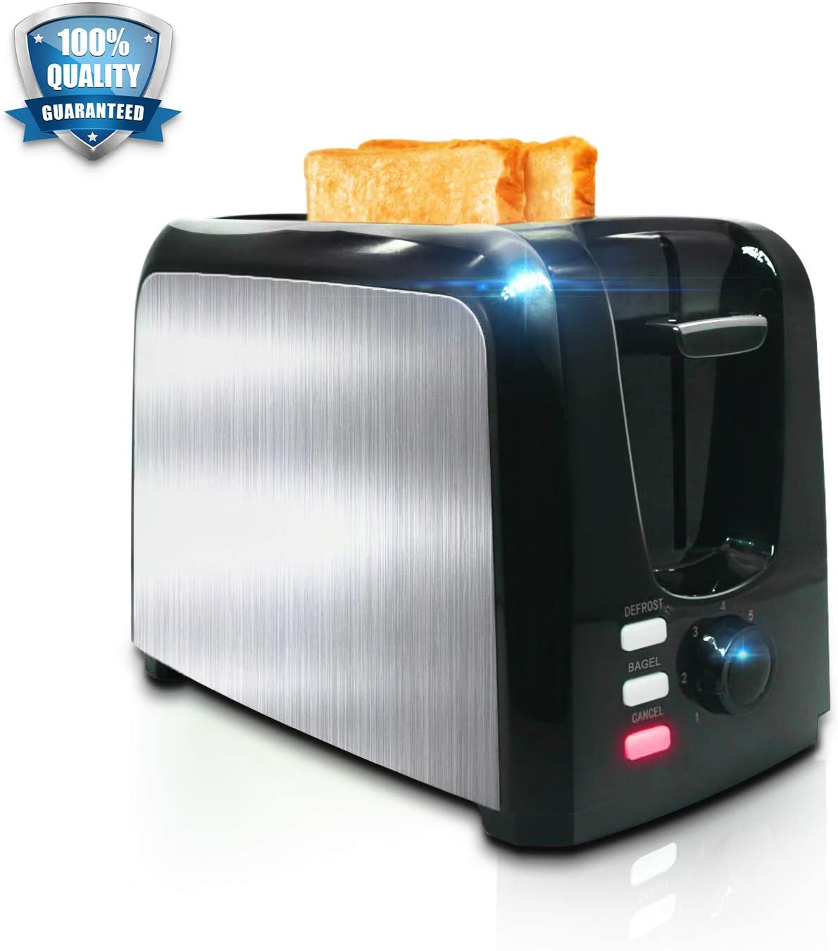 Toaster 2 Slice Toasters Toast Perfectly Stainless Steel 2 Slice Toaster With Bagel Defrost Cancel Function Cool Touch Black Compact Bread Toasters 2 Slice Best Rated Prime Top With Two Extra Wide Slots, 7 Shade Setting, Removable Crumb Tray