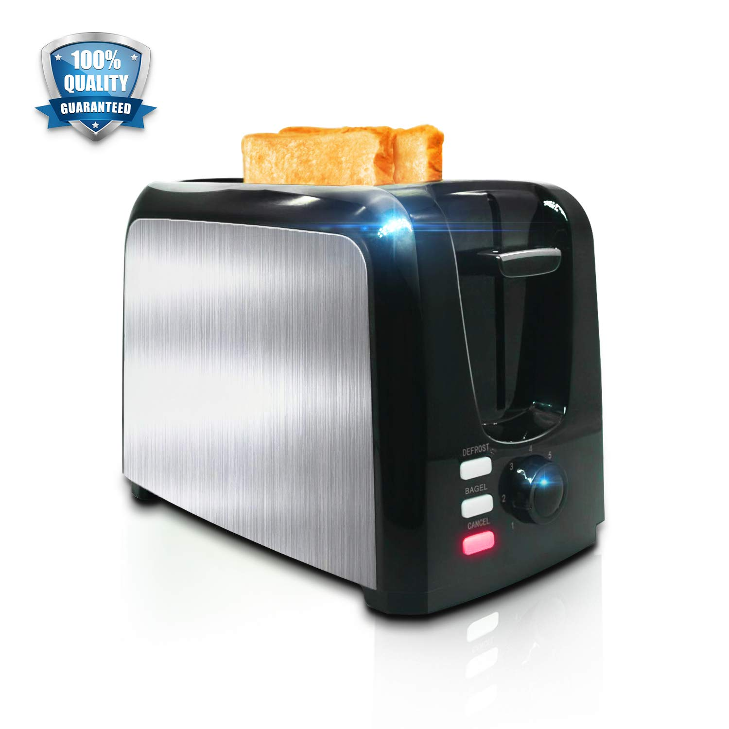Toaster 2 Slice │ Toasters Toast Perfectly│Stainless Steel 2 Slice Toaster With Bagel Defrost Cancel Function│ Cool Touch Black Compact Bread Toasters 2 Slice Best Rated Prime Top With Two Extra Wide Slots, 7 Shade Setting, Removable Crumb Tray