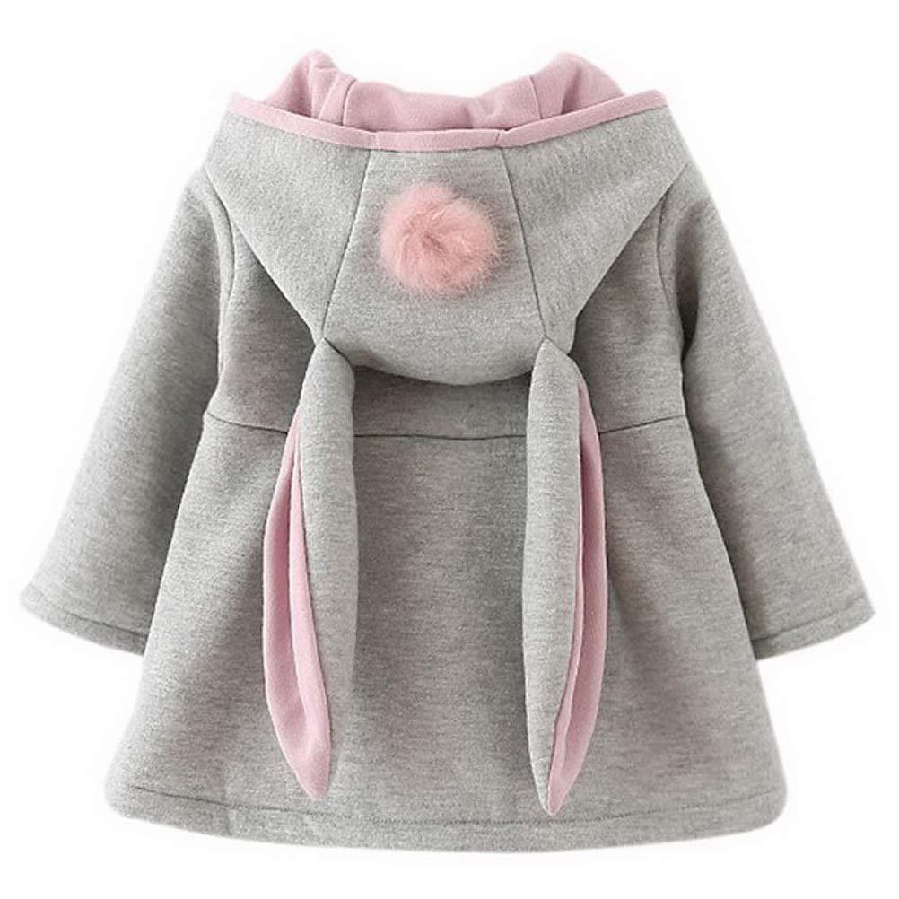 Odziezet Baby Girl Rabbit Ear Jacket Long Sleeve Button Down Ear Coat Toddler Kids Fall Winter Hoodie Outerwear