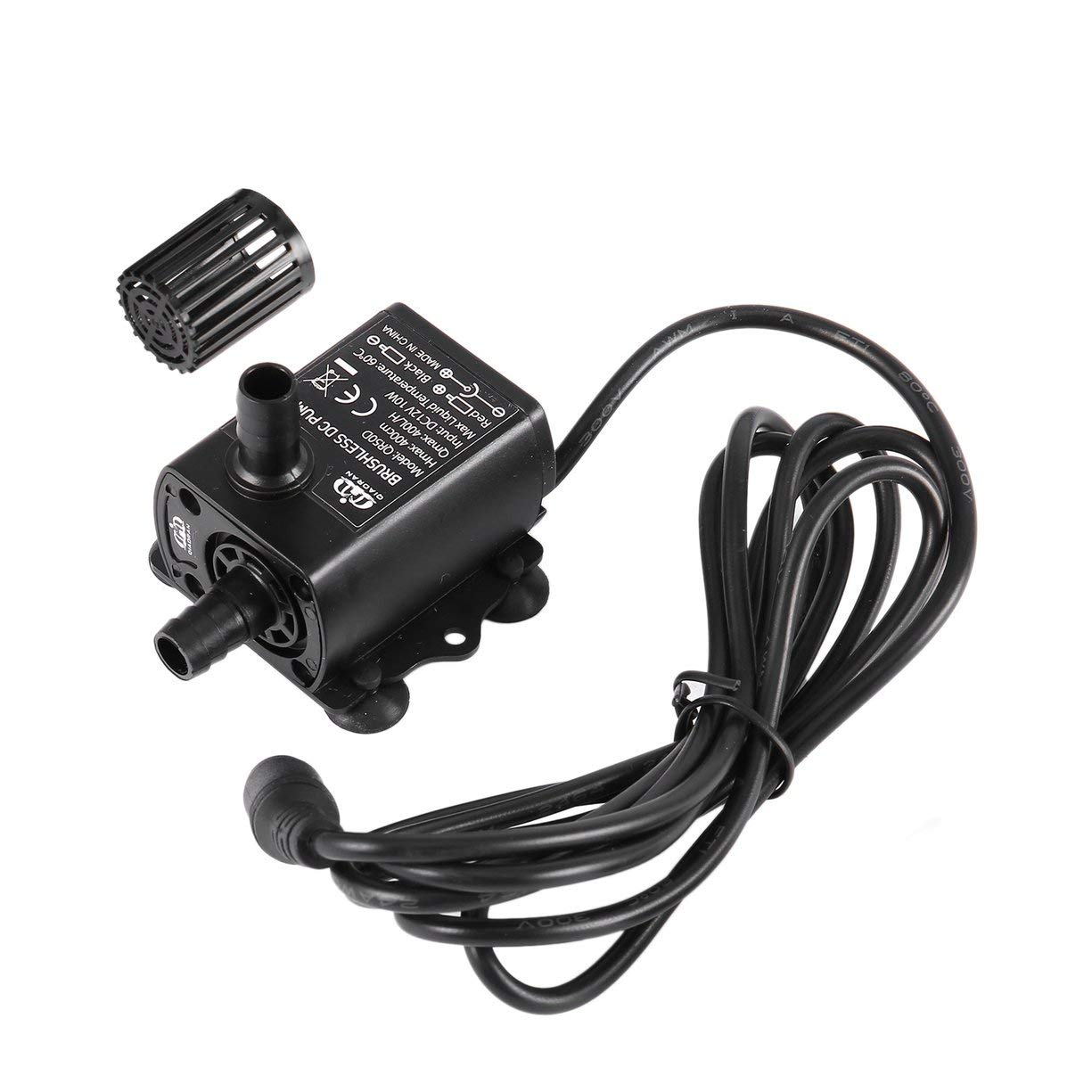 Ultra-quiet Mini Submersible Water Pump Waterproof Brushless DC Water Pump with 5.52.1mm Female Plug DC12V 10W 400L/H Lift 4m