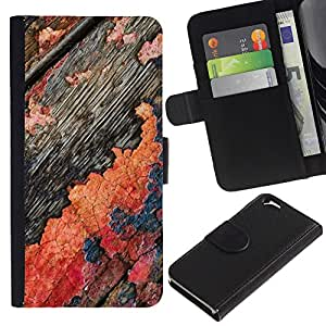 iKiki Tech / Cartera Funda Carcasa - Flaky Paint Wood Old Rustic Threadbare - Apple iPhone 6