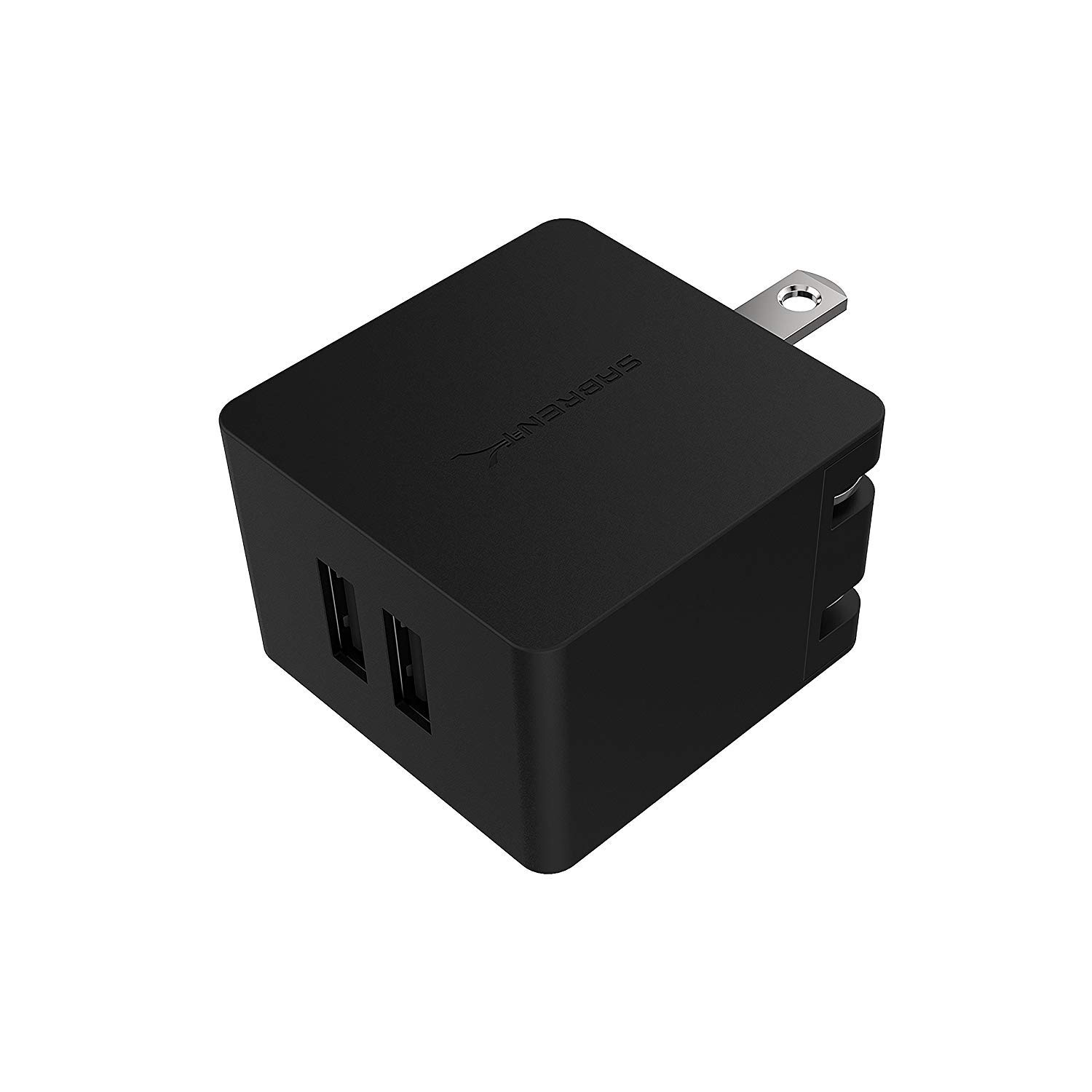 UL Certified Sabrent AX-SMP2 10.5W 2.1 Amp Dual USB Wall Charger with Foldable Plug Smart USB Charger with Auto Detect Technology Black