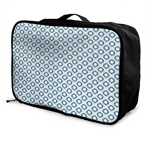 Ogee Liner - Ikat Luggage trolley bag Oval and Double-S Ogee Vertical Pattern Ancient Old Japanese Kimono Motifs Waterproof Fashion Lightweight Blue Eggshell White