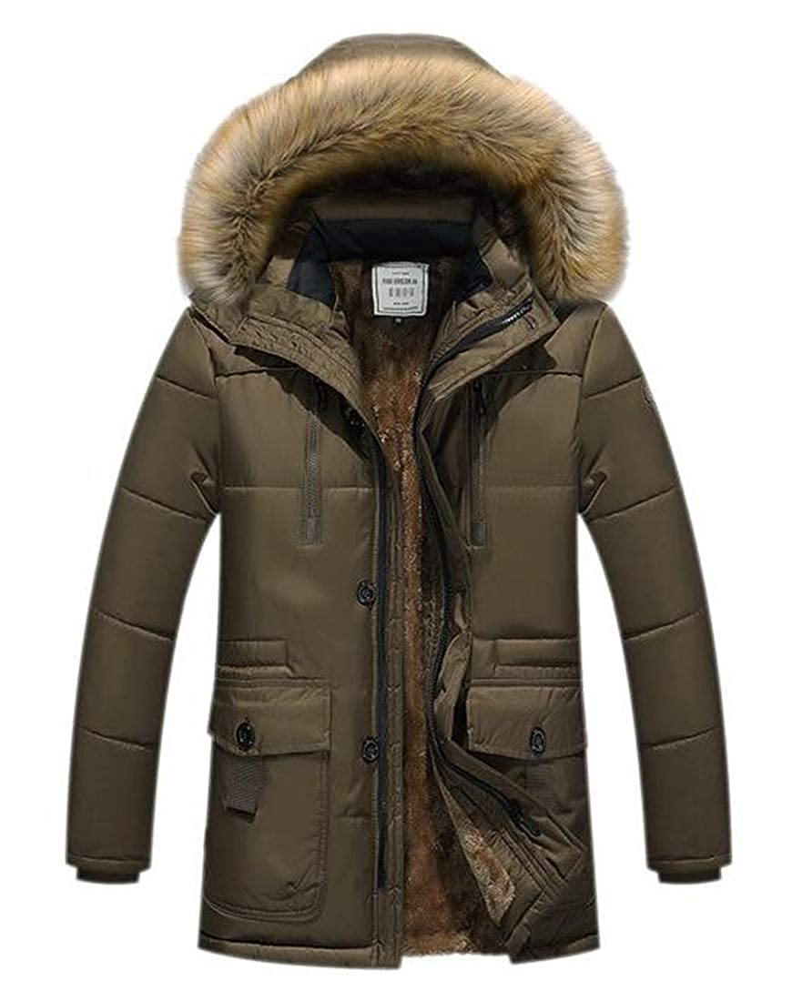 Domple Mens Cotton Plus Size Big and Tall Loose Fit Longline Puffer Down Jacket