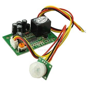Amazon.com: Sensor de salida de relé de 12 V PIR IR ...