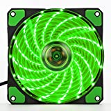 SUNWELL 120mm Long Life Sleeve Case Fan LED CPU Cooler Fan, Four Direct Contact Heat Pipes, Unique Blade Design with 15 LEDs ( 2 Pack) Green color