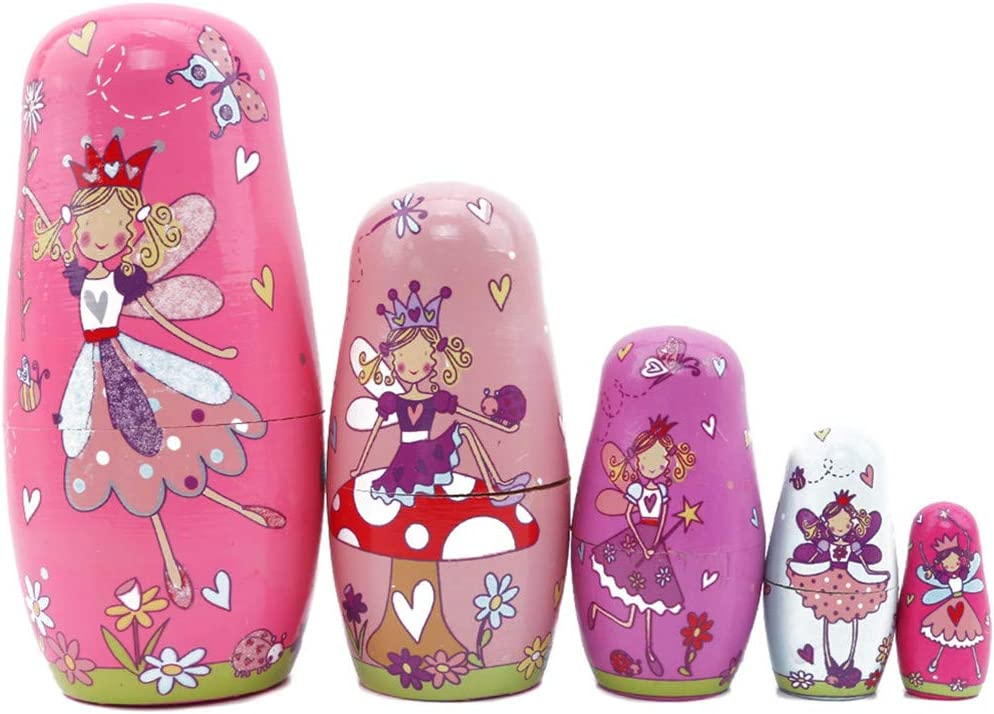 GOMYIE 5Pcs Beautiful Handmade Wooden Russian Nesting Dolls Gift Russian Nesting Wishing Dolls Angel Matryoshka Traditional