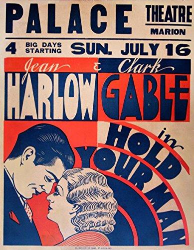 HOLD YOUR MAN (1933) Jumbo window card poster Gable, Harlow Pre-Code drama - Harlow Window