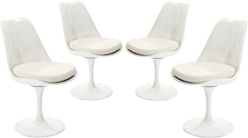 Modway Lippa Mid-Century Modern Upholstered Fabric Swivel Four Dining Chair