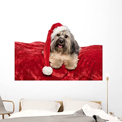 wallmonkeys funny christmas dog with wall decal peel and stick holiday graphics 60 in w