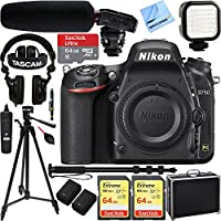 Nikon D750 DSLR 24.3MP HD 1080p FX-Format Digital Camera - Body Only w/ Tascam DSLR Audio Recorder and Shotgun Microphone + 128GB & 64GB Pro Video Bundle